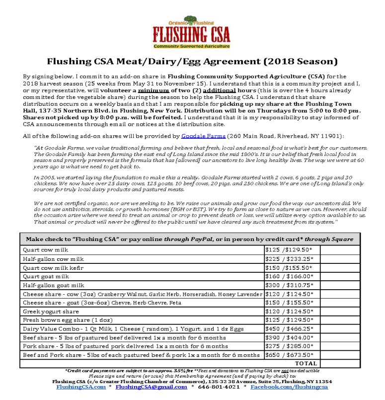 Membership Agreement Flushing Community Supported Agriculture
